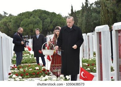 CANAKKALE, TURKEY - MARCH 18: President Recep Tayyip Erdogan visited Dardanel war monuments and cemetery of soldiers, on March 18, 2018 in Canakkale, Turkey