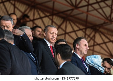 CANAKKALE, TURKEY - MARCH 18: President Recep Tayyip Erdogan attended the Gallipoli war ceremony on March 18, 2019 in Canakkale, Turkey