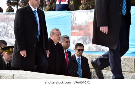 CANAKKALE, TURKEY - MARCH 18: President Recep Tayyip Erdogan attended the Gallipoli war ceremony  on March 18, 2016 in Canakkale, Turkey