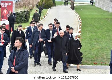 CANAKKALE, TURKEY - MARCH 18: Prime minister Binali Yildirim and wife Semiha Yildirim attended the Gallipoli war ceremony on March 18, 2018 in Canakkale, Turkey