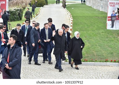 CANAKKALE, TURKEY - MARCH 18: Prime minister Binali Yildirim and wife Semiha Yildirim attended the Gallipoli war ceremony on March 18, 2018 in Canakkale, Turkey