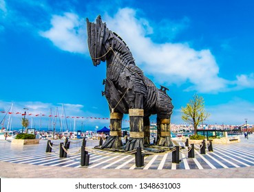 Canakkale, Turkey - March 20, 2019 : Wooden Horse view in Canakkale, Turkey. After the filming of the movie Troy,The wooden horse that was used as a prop was donated to the city of Canakkale