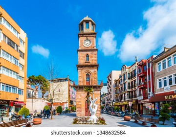 Canakkale, Turkey - March 20, 2019 : The Historical Clock Tower is located at the hearth of Canakkale.The Clock tower now acts as one of the symbols of Canakkale .