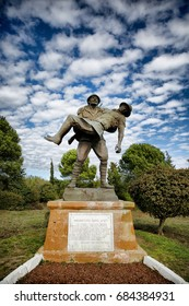 CANAKKALE, TURKEY, MAY 10, 2017: Monument of a Turkish soldier carrying wounded Anzac soldier at Canakkale Martyrs' Memorial, Turkey