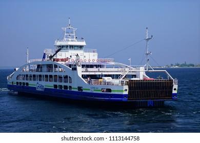 CANAKKALE, TURKEY - MAY 2, 2018 - Gallipoli ferry crossing the Dardanelles near Canakkale, Turkey