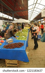 CANAKKALE, TURKEY - MAY 23, 2014 - Local shoppers buy vegetables at the weekly market  in Canakkale,  Turkey