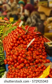 CANAKKALE, TURKEY - MAY 23, 2014 - Shoppers buy tomatoes at the weekly market  in Canakkale,  Turkey
