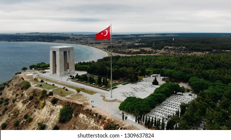 Canakkale, Turkey - November .29, 2018 : The Canakkale Martyrs Memorial is a war memorial commemorating the service of about Turkish soldiers who participated at the Battle of Gallipoli.