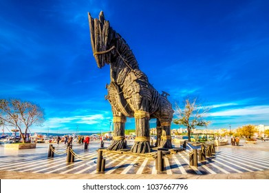 Canakkale, Turkey - October 07 : Wooden Horse view in Canakkale,Turkey. After the filming of the movie Troy,The wooden horse that was used as a prop was donated to the city of Canakkale
