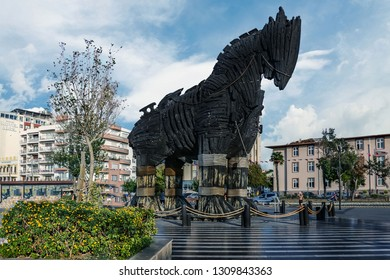 Canakkale, Turkey - October 08 : Wooden Horse view in Canakkale,Turkey. After the filming of the movie Troy,The wooden horse that was used as a prop was donated to the city of Canakkale