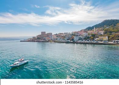 Canakkale, Turkey - October 15, 2017: A boat leaves harbor of Gallipoli Canakkale, Turkey