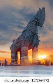 CANAKKALE, TURKEY - OCTOBER 20 , 2014: Trojan horse, Canakkale Turkey