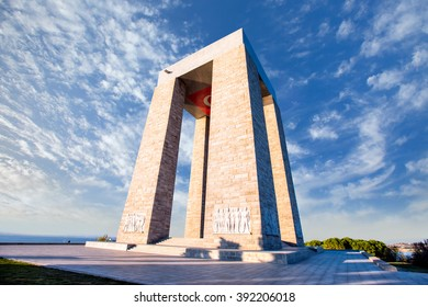 CANAKKALE, TURKEY - OCTOBER 20 , 2014:Canakkale Martyrs' Memorial against to Dardanelles Strait