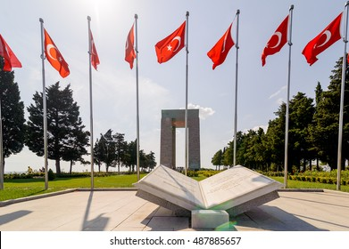 CANAKKALE, TURKEY - SEP 13, 2016: Canakkale Martyrs' Memorial is a war memorial commemorating the service of about 253,000 Turkish soldiers who participated at the Battle of Gallipoli in 1915.