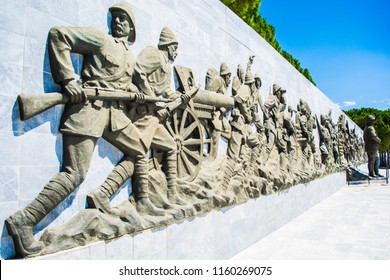 Canakkale,Turkey - August.10,2018 : Ataturk Statue in The Canakkale Martyrs Memorial is a war memorial commemorating the service of about Turkish soldiers who participated at the Battle of Gallipoli