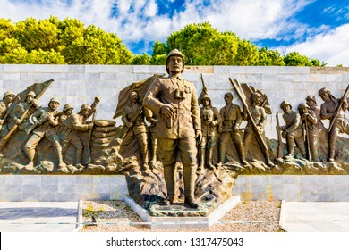 Canakkale,Turkey - February.11, 2016 : The Canakkale Martyrs Memorial is a war memorial commemorating the service of about Turkish soldiers who participated at the Battle of Gallipoli.