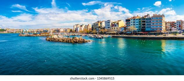 Canakkale,Turkey - March 19, 2019  : Canakkale street view from sea. Canakkale is a beautiful city near to Canakkale bosphorus.