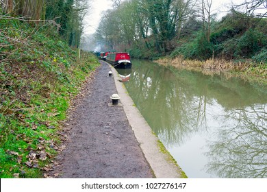 Canal with barges moored on a winter day in Hatton near to Warwick