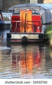 Canal boat moored in the evening sun