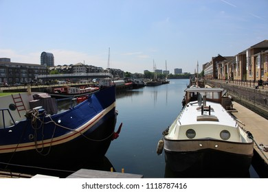 Canal Boats In Greenland Quay Dock Surrey Quays