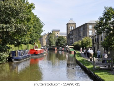 Canal boats moored in Skipton, Yorkshire, UK.