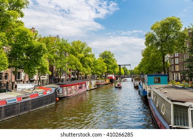 Canal and bridge in Amsterdam in a summer day, Netherlands