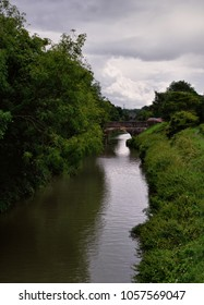 Canal with a bridge in Wiltshire, England
