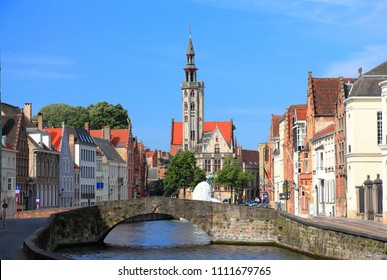 Canal in Bruges. Belgium, Europe.
