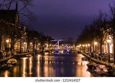 Canal by night in Alkmaar