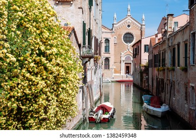 Canal with Church Madonna dell'Orto in Cannaregio district of Venice, Italy