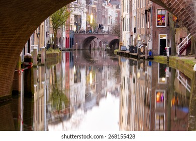 Canal in the city of Utrecht, the center city of the Netherlands, with beautiful reflections of the medieval quaint houses in the water