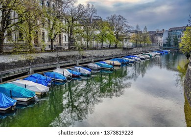 A canal in the city of Zurich in Switzerland