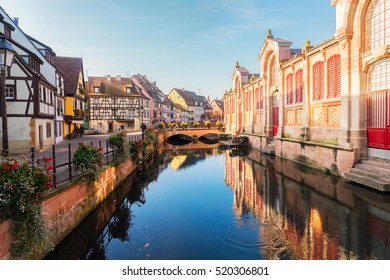 canal of Colmar, beautiful town of Alsace, France