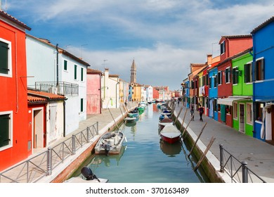 canal with colorful old  houses of Burano island, Venice, Italy