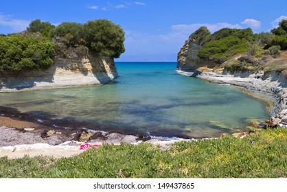 Canal D'Amour beach at Sidari, Corfu island in Greece