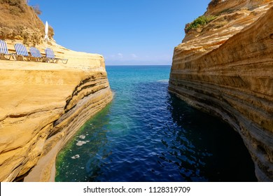Canal d'Amour rock formation, ocean coastline, Corfu island, Greece