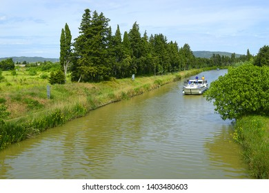 Canal du Midi near Homps. Homps is small village of Aude, on the banks of the Canal du Midi - UNESCO World Heritage Site, France