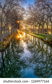 Canal du midi on an early winter's morning