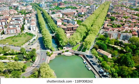 The Canal du Midi, the twin bridges and the port of the embourure in Toulouse in France