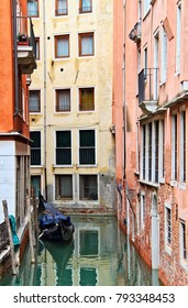 A canal empty of people in Venice, Italy