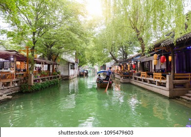 Canal and gondola in the watertown Tongli, the Venice of Asia, near Suzhou, Shanghai, China