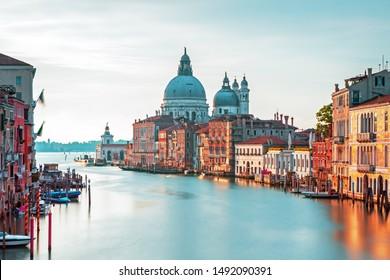 Canal Grande with Basilica Santa Maria della Salute in the Venice, Italy