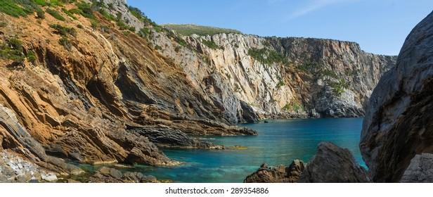 Canal Grande beach between Masua and Cala Domestica on the west coast of Sardinia, Italy