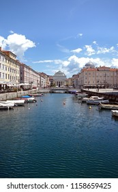 The Canal Grande with the Sant Antonio Nuovo church in Trieste, Italy.