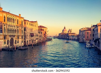 Canal Grande sunset of Accademia's bridge. Venice, Italy.