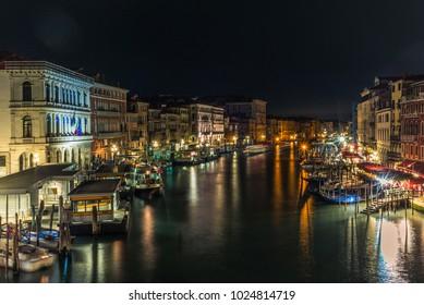 Canal Grande in Venice at night seen from the Rialto bridge