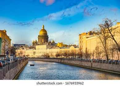 Canal Gribobedov and Saint Isaac's Cathedral,  Urban View of Saint Petersburg. Russia.