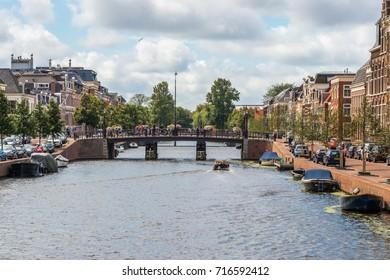 canal in Haarlem, near Amsterdam, Noordholland, Netherlands