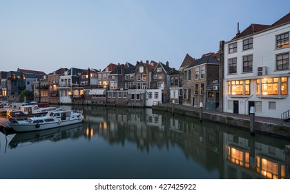 Canal and historical houses in Dordrecht, Holland