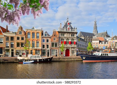 Canal with historical houses in old Haarlem, Holland with lilac flowers